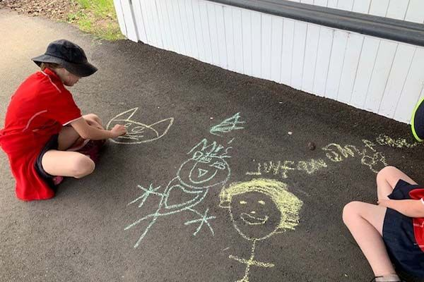 Linton Primary School - Students Chalk Drawing
